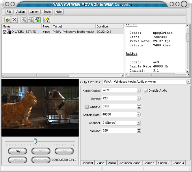 YASA AVI WMV MOV VOB to WMA Converter Screenshot 1