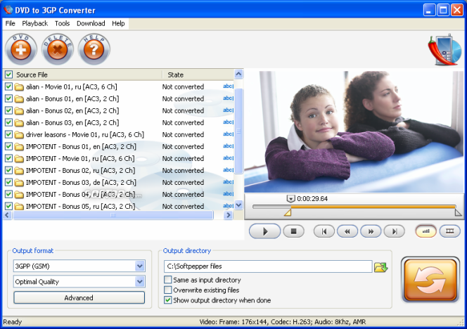 SoftPepper DVD to 3Gp Converter Screenshot 1