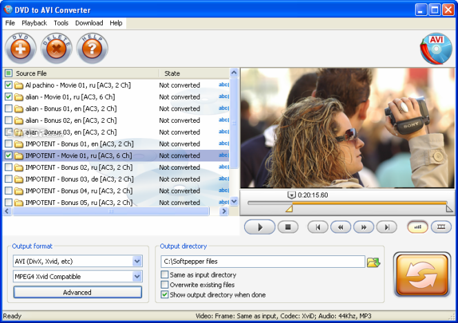 SoftPepper DVD to AVI Converter Screenshot 1
