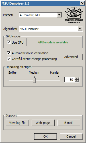 MSU Denoiser VirtualDub plugin Screenshot