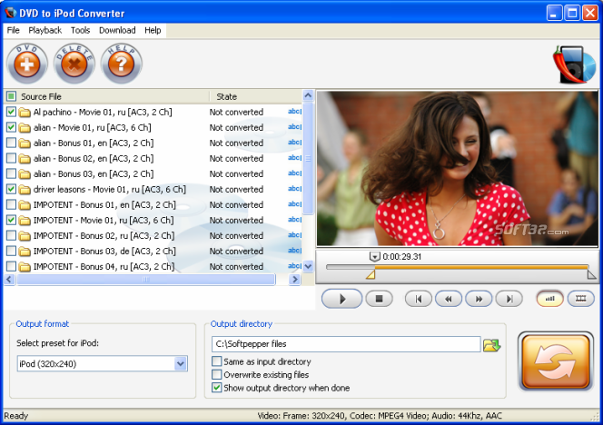SoftPepper DVD to iPod Converter Screenshot