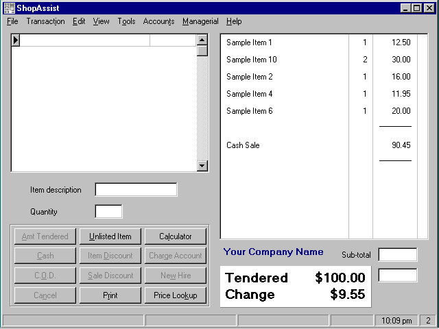 ShopAssist Point Of Sale System Screenshot 1
