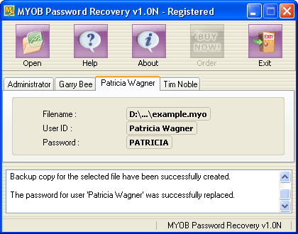 MYOB Password Recovery Screenshot 1