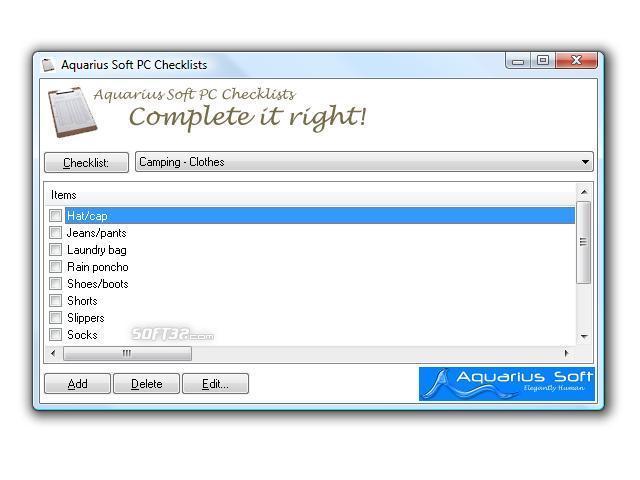 Aquarius Soft PC Checklists Screenshot 2
