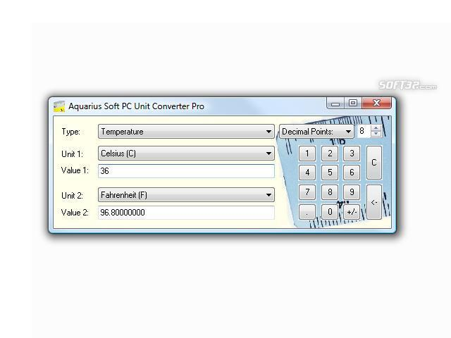 Aquarius Soft PC Unit Converter Screenshot 2