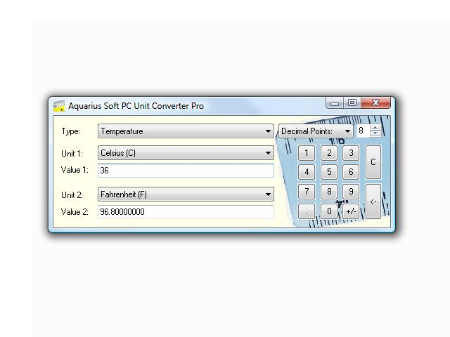 Aquarius Soft PC Unit Converter Screenshot 1