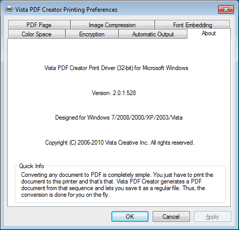 Vista PDF Creator Screenshot