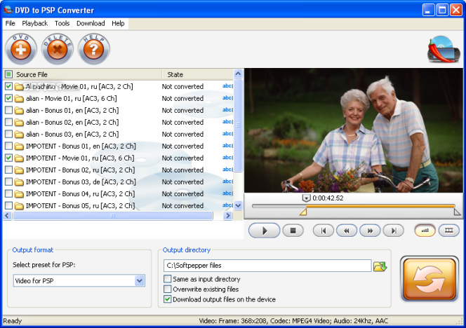 SoftPepper DVD to PSP Video Suite Screenshot