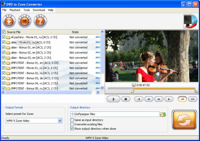 SoftPepper DVD to Zune Converter Screenshot