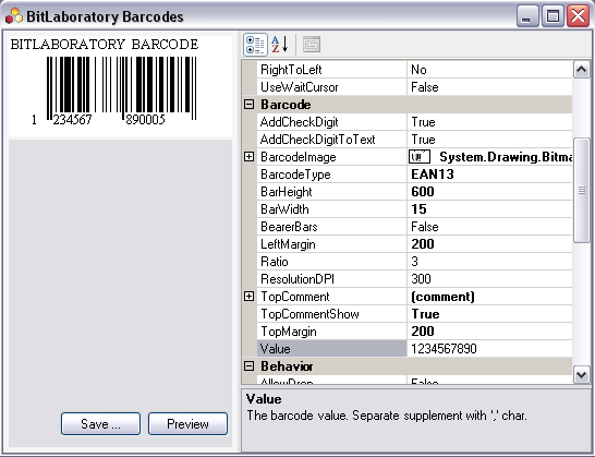 Barcode Components Screenshot
