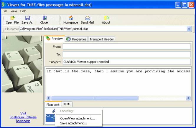 Viewer for TNEF-files (winmail.dat) Screenshot