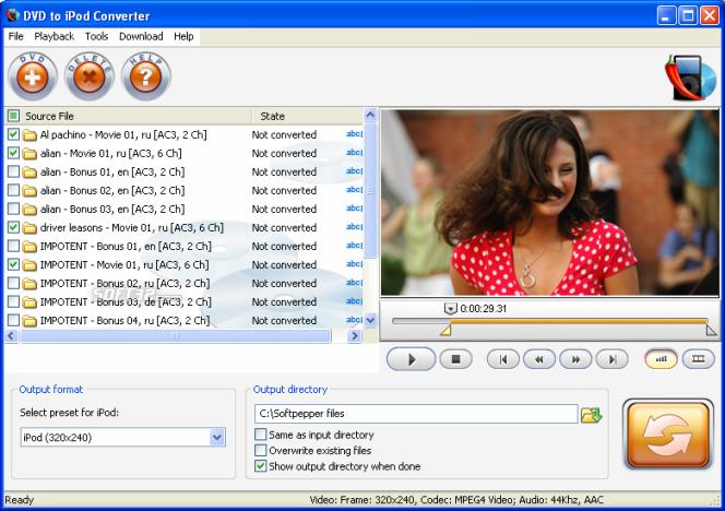SoftPepper DVD to iPod Video Suite Screenshot