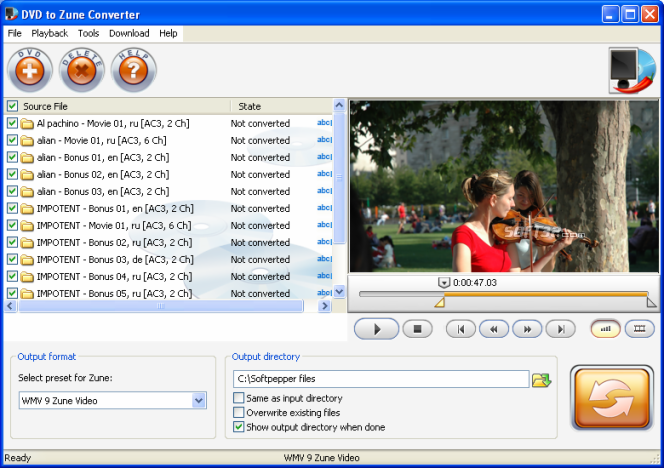 SoftPepper DVD to Zune Video Suite Screenshot