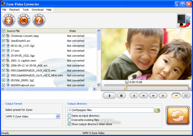 SoftPepper Zune Video Converter Screenshot