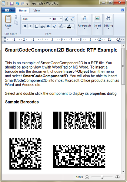 SmartCodeComponent2D Barcode Screenshot