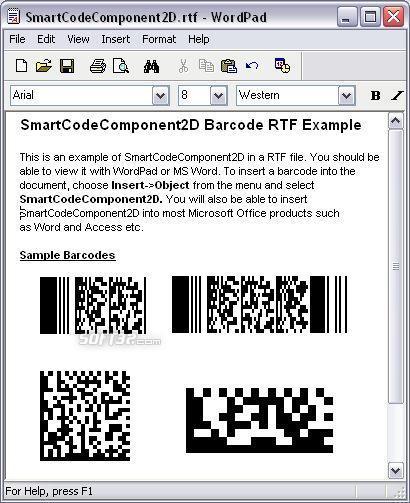 SmartCodeComponent2D Barcode Screenshot 2
