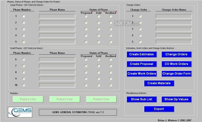 GEMS General Estimating Tool Screenshot 2