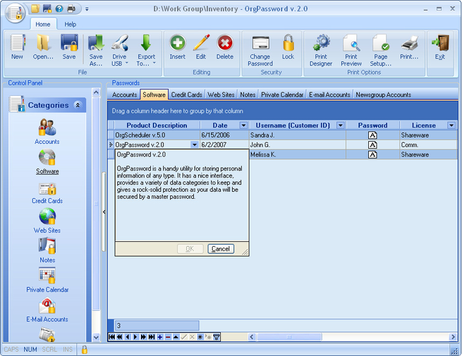 OrgPassword Screenshot