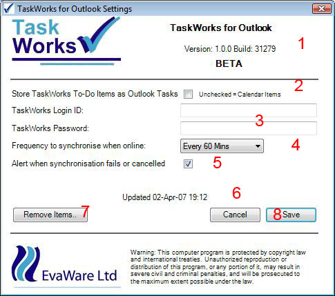 TaskWorks Outlook 2007 Add-in Screenshot