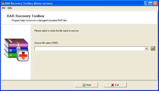RAR Recovery Toolbox Screenshot