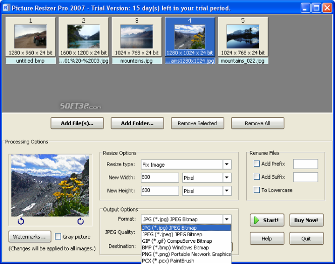Picture Resizer Pro 2007 Screenshot 6