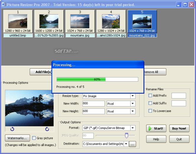 Picture Resizer Pro 2007 Screenshot 7