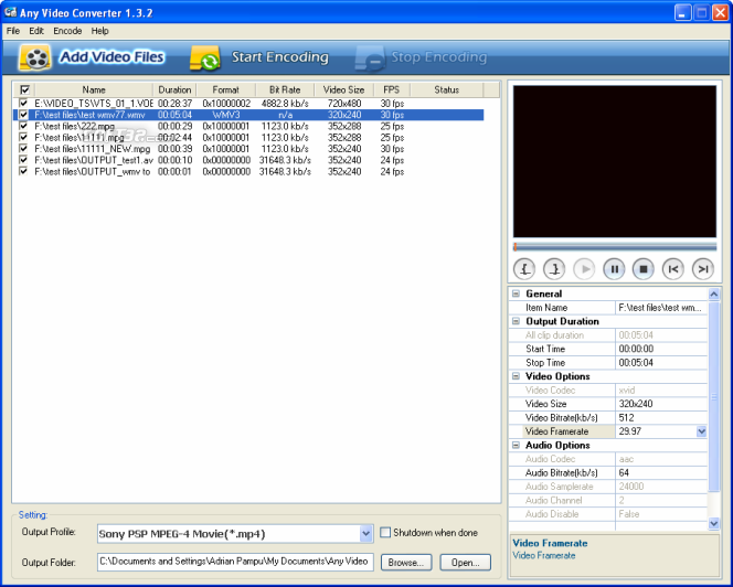 Any Video Converter Freeware Screenshot 3