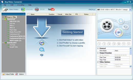 Any Video Converter Freeware Screenshot 1