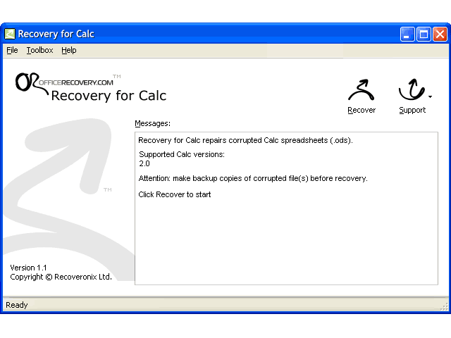 Recovery for Calc Screenshot 1