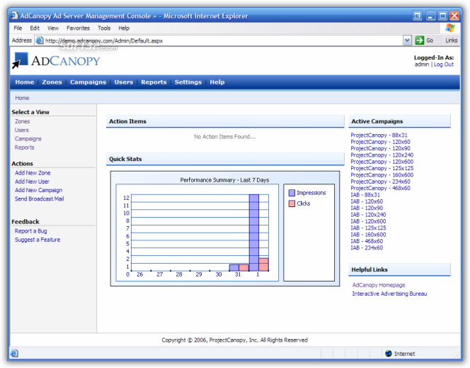 AdCanopy - Ad Serving Software Screenshot 1