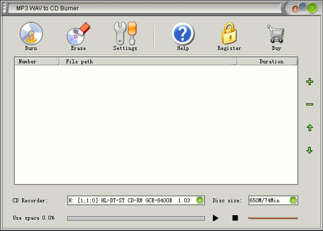 MP3 WAV to CD Burner Screenshot
