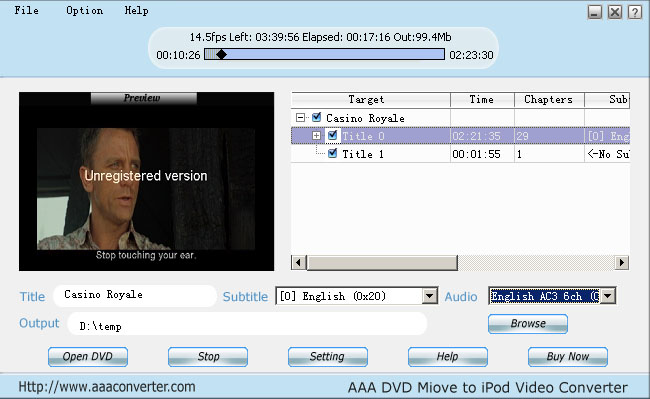 AAA  DVD To iPod Converter Screenshot