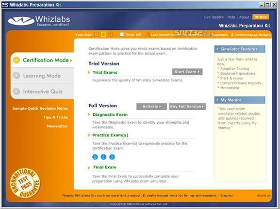 Whizlabs CCNA (640-801) Preparation Kit Screenshot