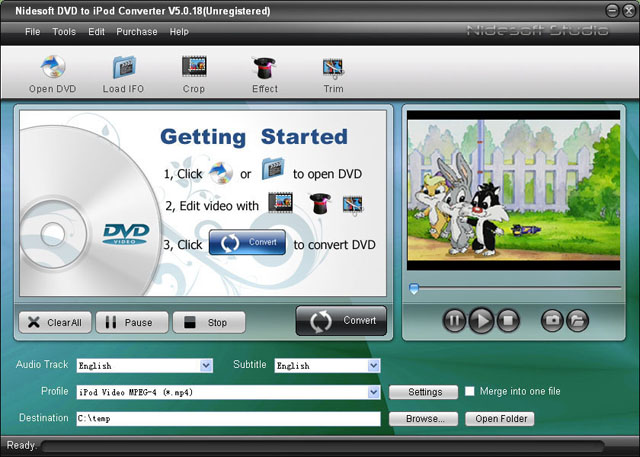 Nidesoft DVD to iPod Suite Screenshot