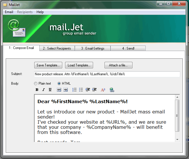 MailJet Screenshot