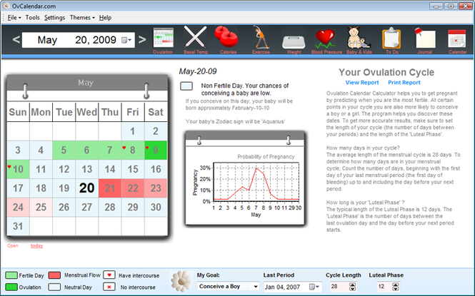 Ovulation Calendar Calculator Screenshot