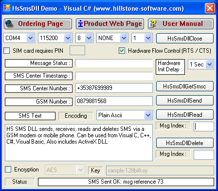 HS SMS DLL (GSM 07.05) Screenshot 1