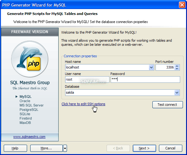 PHP Generator for MySQL Screenshot 2
