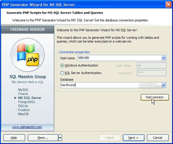 MS SQL PHP Generator Screenshot 2