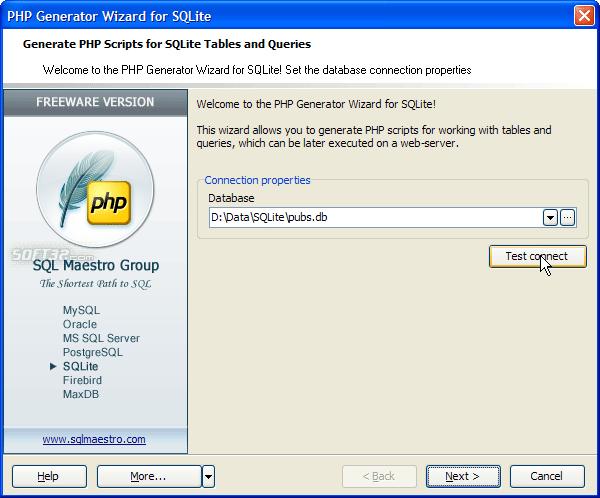 SQLite PHP Generator Screenshot 2