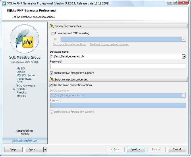 SQLite PHP Generator Screenshot 1