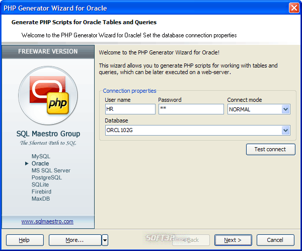 Oracle PHP Generator Screenshot 2
