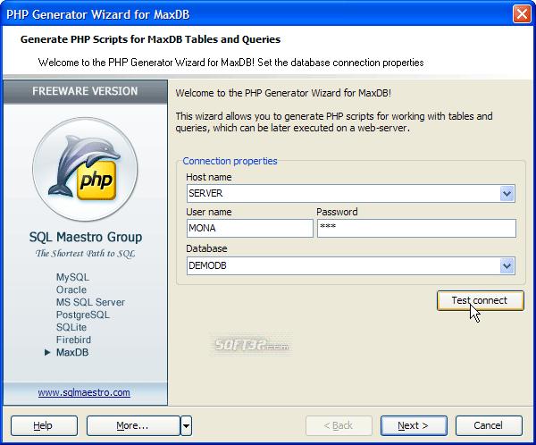 MaxDB PHP Generator Screenshot 2