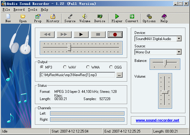 Audio Sound Recorder Screenshot