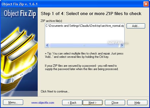 Object FIX ZIP Screenshot 2