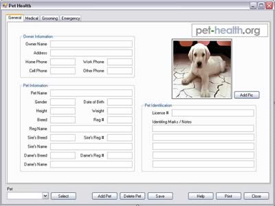Pet Health Software Screenshot