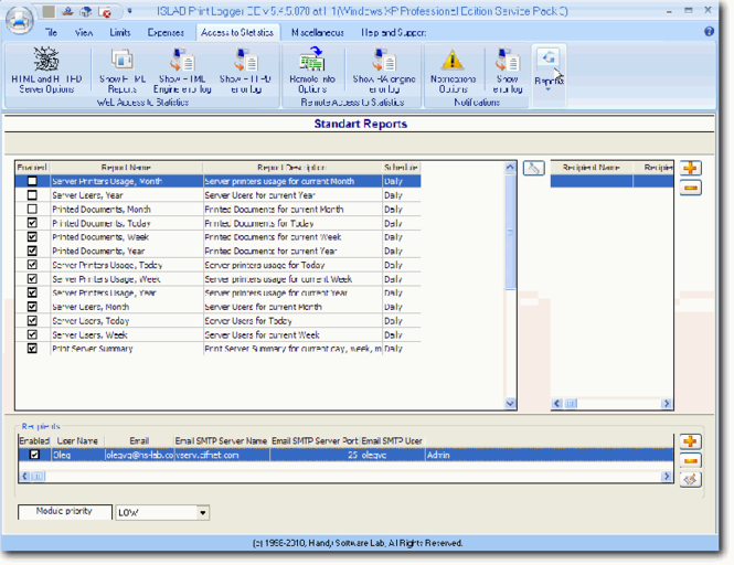 HSLAB Print Logger SBE Screenshot