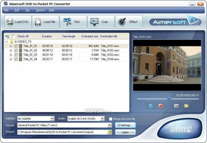 Aimersoft DVD to Pocket PC Converter Screenshot 1