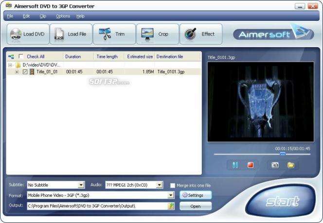 Aimersoft DVD to 3GP Converter Screenshot 1