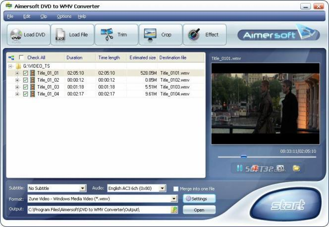 Aimersoft DVD to WMV Converter Screenshot